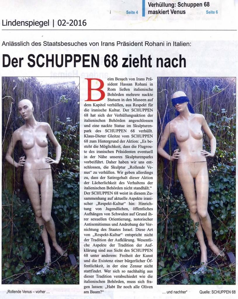 160201Lindenspiegel - Verhüllungsaktion Rohani Besuch